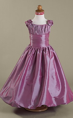 A-line Straps Floor-length Taffeta Flower Girl Dress