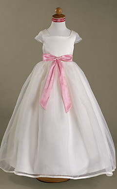 Ball Gown Square Floor-length Satin Organza Flower Girl Dress