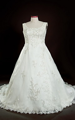 A-line Square Court Train Plus Size Wedding Dress
