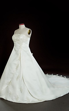 A-line Strapless Chapel Train Satin Plus Size Wedding Dress with Split Front