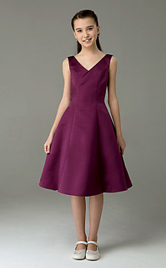 A-line V-neck  Knee-length  Sleeveless Satin Junior Bridesmaid Dress