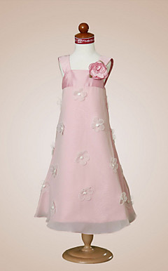 A-line Square  Tea-length Chiffon  Taffeta  Flower Girl Dress