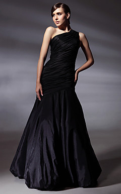 Taffeta Trumpet/ Mermaid One Shoulder Floor-length Evening Dress