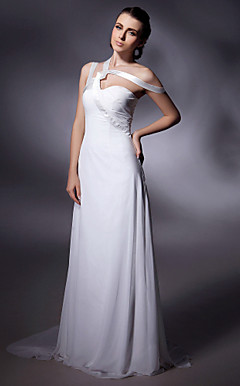 Chiffon Over Stretch Satin Sheath/ Column Off-the-shoulder Sweep/ Brush Train Evening Dress inspired by Grammy