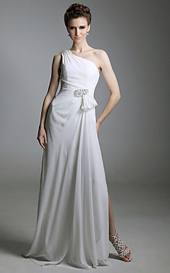 Chiffon Sheath/ Column One Shoulder Floor-length Evening Dress inspired by Grammy