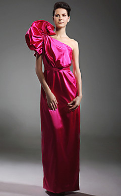 Stretch Satin Sheath/ Column One Shoulder Floor-length Evening Dress inspired by Naomi Campbell