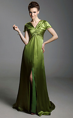 Charmeuse Sheath/ Column V-neck Sweep/ Brush Train Evening Dress inspired by Sex and the City