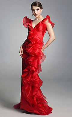 Organza Sheath/Column V-neck Floor-length Evening Dress inspired by Sex and the City