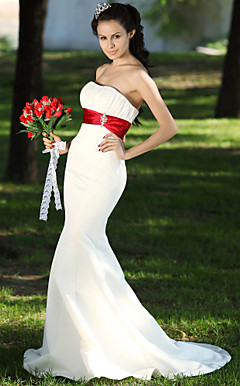 Trumpet/Mermaid Sweetheart Court Train Satin Draped Wedding Dress
