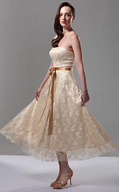 A-line Strapless Sleeveless Tea-length Lace Over Stretch Satin Bridesmaid Dress