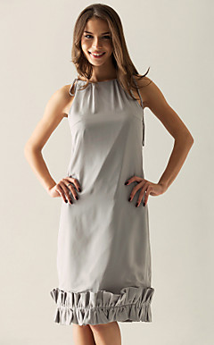 Sheath/ Column Bateau Knee-length Chiffon Over Elastic Satin Bridesmaid/ Wedding Party Dress