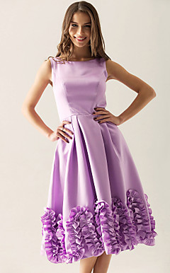 A-line Bateau Knee-length Satin Ruffles Applique Bridesmaid Dress
