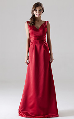 A-line V-neck Floor-length Satin Bridesmaid/ Wedding Party Dress