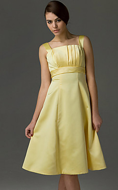 A-line Square Straps Knee-length Satin Bridesmaid/Wedding Party Dress