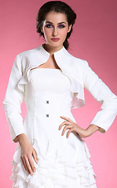 Longsleeves Chiffon Satin Bridal Jacket/ Wedding Wrap