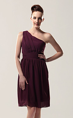 Sheath/ Column One Shoulder Knee-length Chiffon Over Elastic Satin Bridesmaid Dress