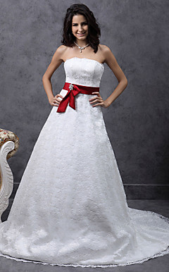 A-line Sweetheart Court Train Lace Satin Belt Wedding Dress