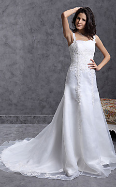 A-line Straps Court Train Organza Wedding Dress with Beaded Applique