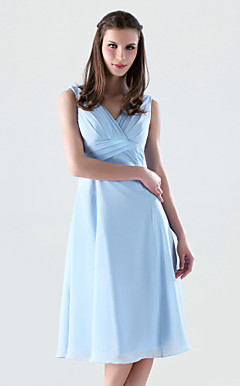 A-line V-neck Knee-length Chiffon Bridesmaid/Wedding Party Dress With Criss-Cross Bodice