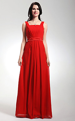 Straps Floor-length Chiffon Stretch Satin Bridesmaid Dress