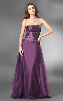 A-line Strapless Floor-length Satin Tulle Prom/Evening Dress