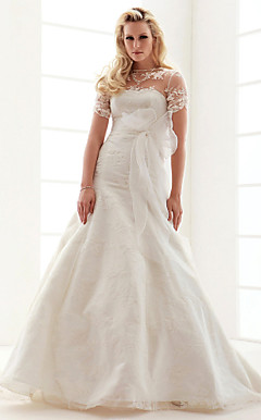 A-line Jewel Court Train Lace Wedding Dress