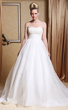 A-line Strapless Chapel Train Organza Wedding Gown