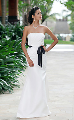 Fascinating Trumpet/Mermaid Strapless Floor-length Taffeta Wedding Dress