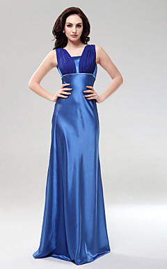 Sheath/Column Square Neckline Floor-length Charmeuse Evening/Bridesmaid Dress