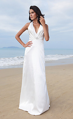 Sheath/Column Halter V-neck Floor-length Elastic Woven Satin Wedding Dress
