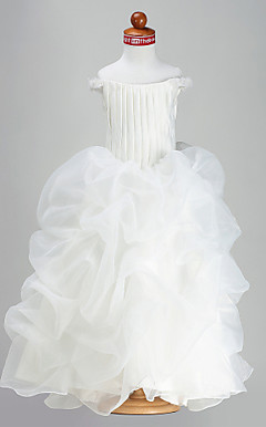 Ball Gown Straps Off-the-shoulder Floor-length Organza Satin Flower Girl Dress