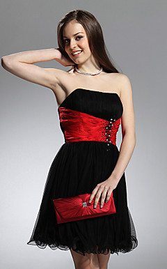 A-line Strapless Knee-length Tulle Taffeta Cocktail Dress