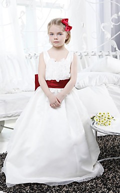 Ball Gown Scoop Floor-length Organza Satin Flower Girl Dress