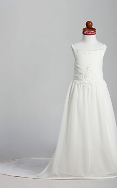 A-line Spaghetti Straps Court Train Chiffon Flower Girl Dress