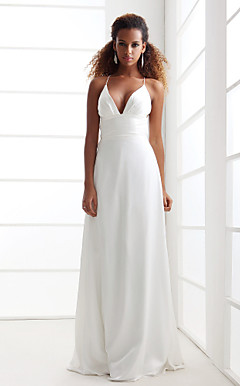 Sheath/Column Spaghetti Straps V-neck Sweep/Brush Train Chiffon Wedding Dress