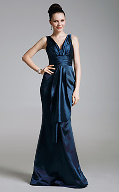 Stretch Satin Empire V-neck Floor-length Evening Dress