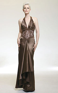 Sheath/Column Halter Floor-length Lace Evening Dress