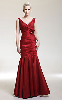 Trumpet/ Mermaid V-neck Floor-length Taffeta Evening Dress