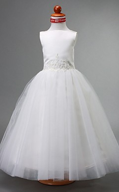 Ball Gown Bateau Floor-length Satin And Tulle Flower Girl Dress