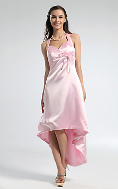 A-line Halter Asymmetrical Stretch Satin Bridesmaid Dress