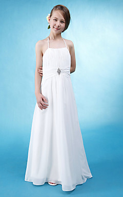 A-line Halter Floor-length Chiffon Junior Bridesmaid Dress