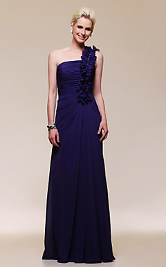 Chiffon Sheath/Column One Shoulder Floor-length Evening Dress inspired by Kathryn Le at Grammy Award