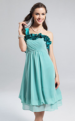A-line One Shoulder Knee-length Chiffon Stretch Satin Bridesmaid Dress