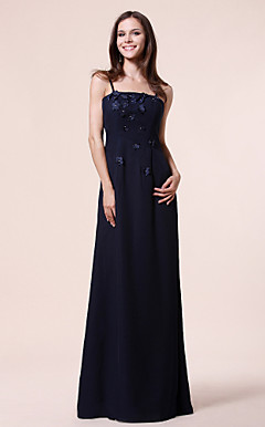 Sheath/Column Spaghetti Straps Floor-length Chiffon Bridesmaid Dress With Appliques