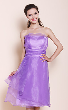 A-line Princess Strapless Knee-length Organza Over Stretch Satin Bridesmaid Dress