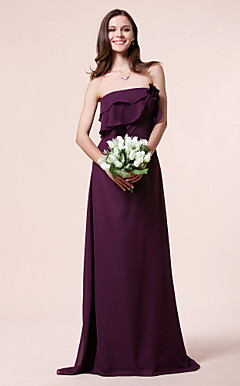 Sheath/Column Strapless Sweep/Brush Train Chiffon Bridesmaid Dress