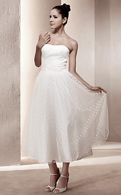 A-line Strapless Tea-length Satin Wedding Dress