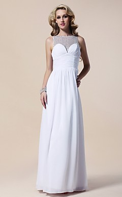 Sheath/Column Bateau Floor-length Chiffon Evening Dress
