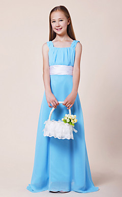 A-line Square Floor-length Chiffon Junior Bridesmaid Dress
