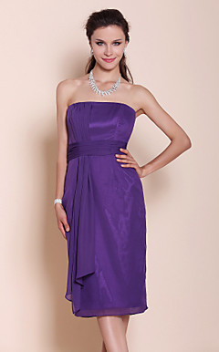 Sheath/Column Strapless Knee-length Draped Chiffon Bridesmaid Dress